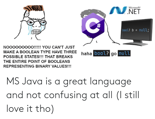 Java: MS Java is a great language and not confusing at all (I still love it tho)