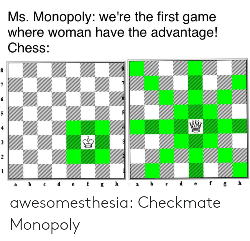 Advantage: Ms. Monopoly: we're the first game  where woman have the advantage!  Chess:  8  6  5  3  2  1  ef  d  h  b  gh  f  C  а  а awesomesthesia:  Checkmate Monopoly