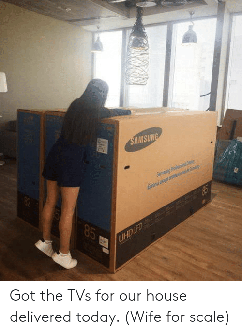 For Scale: MSUN Got the TVs for our house delivered today. (Wife for scale)