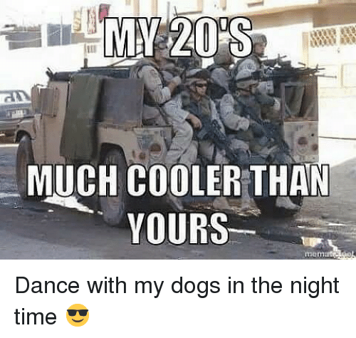 Dogs, Memes, and Time: MUCH COOLER THAN  YOURS Dance with my dogs in the night time 😎