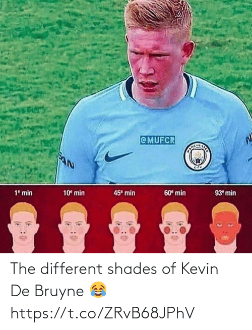 soccer: @MUFCR  CHLSTER  45 min  10 min  60 min  93 min  1° min The different shades of Kevin De Bruyne 😂 https://t.co/ZRvB68JPhV