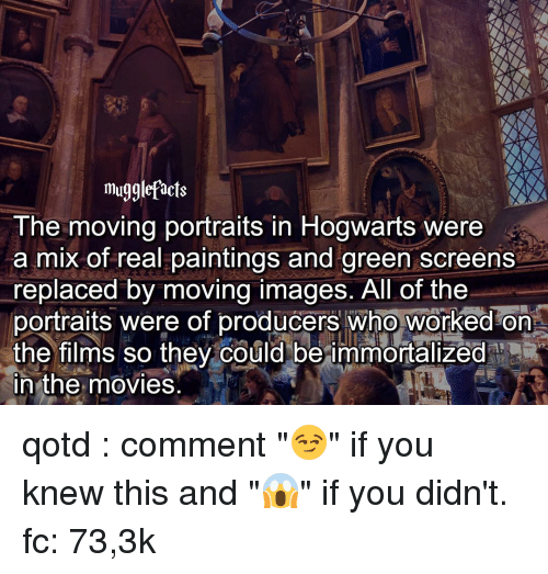 "green screen: mugglefacts  The moving portraits in Hogwarts were  a mix of real paintings and green screens  replaced by moving images. All of the  portraits were of producers who worked on  the films so they could be immortalized  in the movies qotd : comment ""😏"" if you knew this and ""😱"" if you didn't. fc: 73,3k"