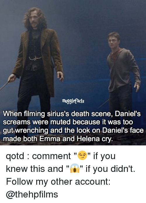 "Memes, Death, and 🤖: mugglefacts  When filming sirius's death scene, Daniel's  screams were muted because it was too  gut wrenching and the look on Daniel's face  made both Emma and Helena c qotd : comment ""😏"" if you knew this and ""😱"" if you didn't. Follow my other account: @thehpfilms"