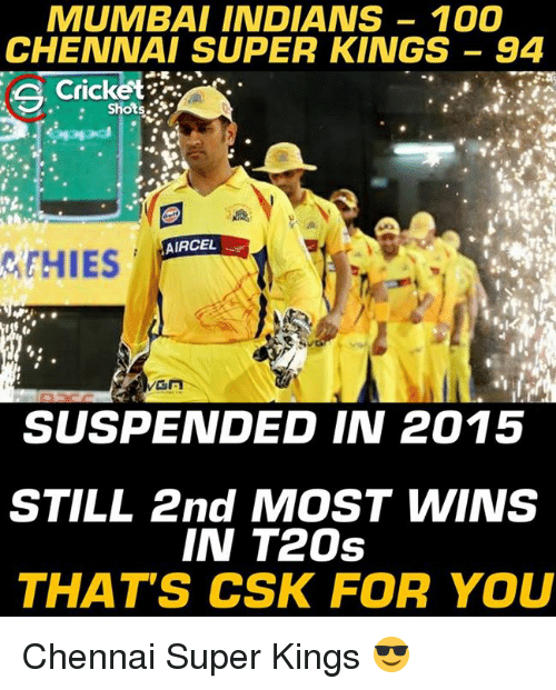 mumbai indians: MUMBAI INDIANS 100  CHENNAI SUPER KINGS 94  Cricket  Shots  AIRCEL  GEHIES  MGA  SUSPENDED IN 2015  STILL 2nd MOST WWINS  IN T20s  THAT'S CSK FOR YOU Chennai Super Kings 😎