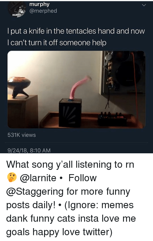 Cats, Dank, and Funny: murphy  @merphed  l put a knife in the tentacles hand and novw  I can't turn it off someone help  531K views  9/24/18, 8:10 AM What song y'all listening to rn 🤔 @larnite • ➫➫➫ Follow @Staggering for more funny posts daily! • (Ignore: memes dank funny cats insta love me goals happy love twitter)