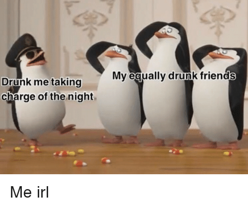 Drunk Friends: Mv equally drunk friends  Drunk me taking  charge of the night Me irl