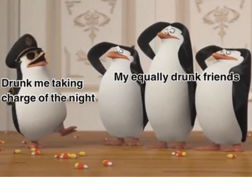 Drunk Friends: Mv equally drunk friends  Drunk me taking  charge of the night