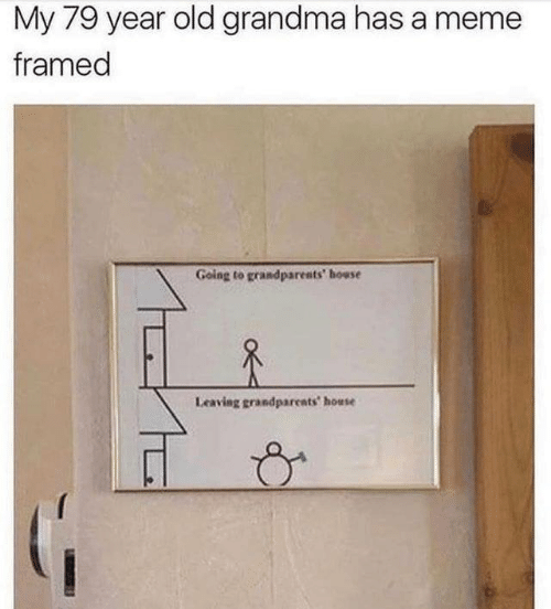 Old Grandma: My 79 year old grandma has a meme  framed  Going to grandparents' house  Leaving grandparents house