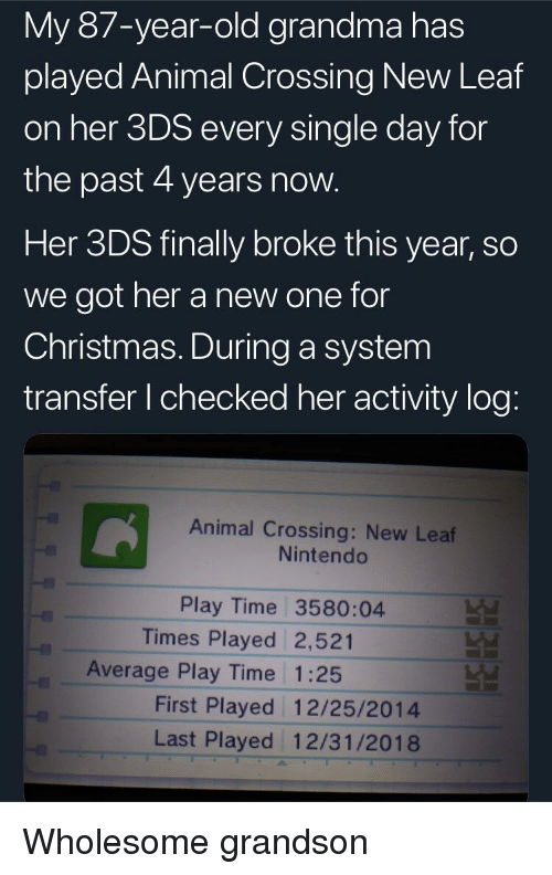 Old Grandma: My 87-year-old grandma has  played Animal Crossing New Leaf  on her 3DS every single day for  the past 4 years now  Her 3DS finally broke this year, so  we got her a new one for  Christmas. During a system  transfer I checked her activity log  Animal Crossing: New Leaf  Nintendo  Play Time 3580:04  Times Played 2,521  Average Play Time 1:25  First Played 12/25/2014  Last Played 12/31/2018 Wholesome grandson
