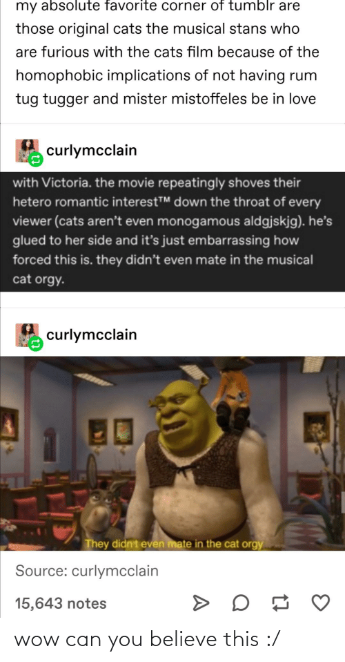 Repeatingly: my absolute favorite corner of tumblr are  those original cats the musical stans who  are furious with the cats film because of the  homophobic implications of not having rum  tug tugger and mister mistoffeles be in love  curlymcclain  with Victoria. the movie repeatingly shoves their  hetero romantic interestTM down the throat of every  viewer (cats aren't even monogamous aldgjskjg). he's  glued to her side and it's just embarrassing how  forced this is. they didn't even mate in the musical  cat orgy.  curlymcclain  They didn't even mate in the cat orgy  Source: curlymcclain  15,643 notes wow can you believe this :/