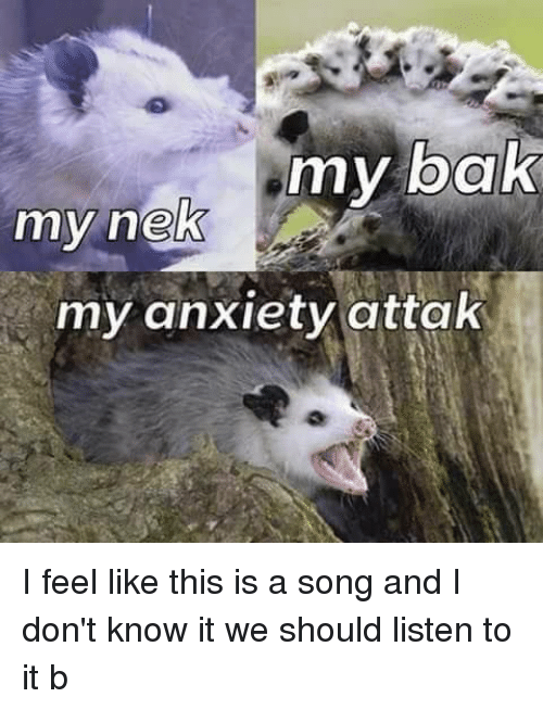 Anxiety, A Song, and Song: my bak  my heK  my anxiety attak I feel like this is a song and I don't know it we should listen to it b
