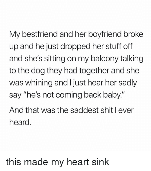 """Shit, Heart, and Stuff: My bestfriend and her boyfriend broke  up and he just dropped her stuff off  and she's sitting on my balcony talking  to the dog they had together and she  was whining and I just hear her sadly  say """"he's not coming back baby.""""  And that was the saddest shit l ever  heard this made my heart sink"""