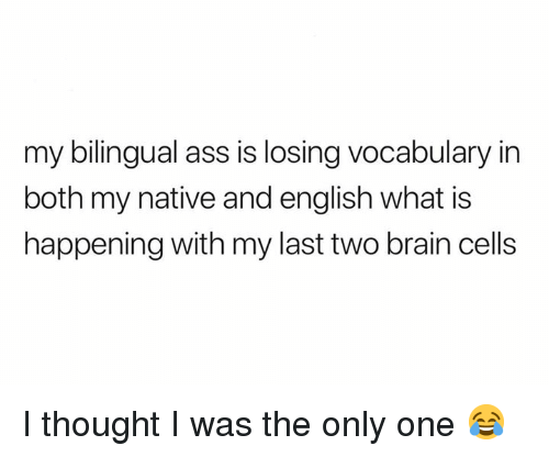 Ass, Memes, and Brain: my bilingual ass is losing vocabulary in  both my native and english what is  happening with my last two brain cells I thought I was the only one 😂