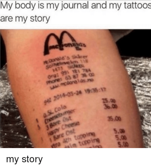 Tattoos, Journal, and Story: My body Is my journal and my tattoos  are my story  118  473  63 87 38  t 2014-03-24 19:35-1m  25.00  35.00  5.0  i to5. my story