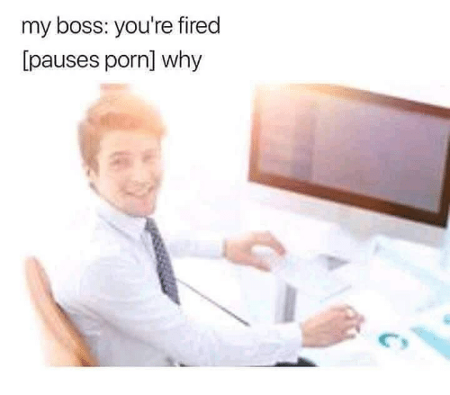 Porn, Dank Memes, and Boss: my boss: you're fired  [pauses porn] why