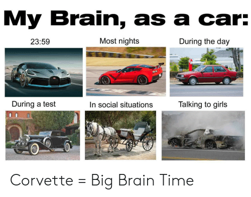 situations: My Brain, as a car:  Most nights  During the day  23:59  During a test  Talking to girls  In social situations Corvette = Big Brain Time