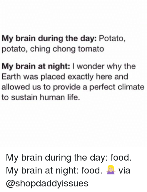 earthing: My brain during the day: Potato,  potato, ching chong tomato  My brain at night: I wonder why the  Earth was placed exactly here and  allowed us to provide a perfect climate  to sustain human life. My brain during the day: food. My brain at night: food. 🤷🏼‍♀️ via @shopdaddyissues