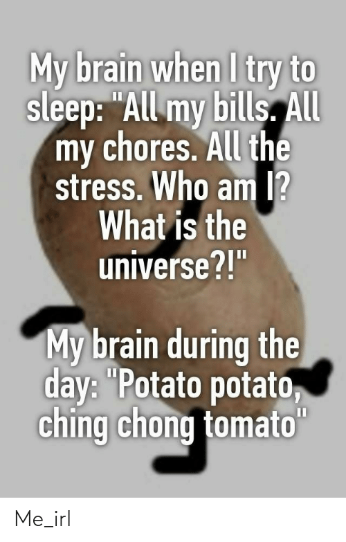 "Who Am I, Brain, and Potato: My brain when I try to  sleep: ""All my bills. All  my chores. All the  stress. Who am I?  What is the  universe?!""  My brain during the  day: ""Potato potato,  ching chong tomato""  II Me_irl"