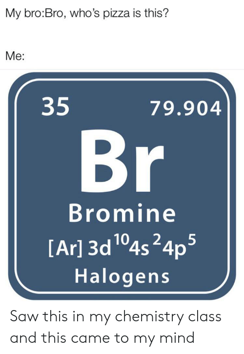 Pizza, Reddit, and Saw: My bro:Bro, who's pizza is this?  Me:  35  79.904  Br  Bromine  [Ar] 3d 104s24ps  Halogens Saw this in my chemistry class and this came to my mind