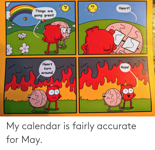Calendar, May, and For: My calendar is fairly accurate for May.