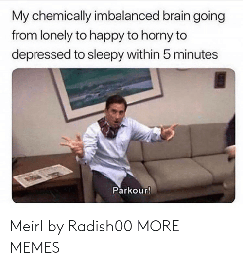 5 minutes: My chemically imbalanced brain going  from lonely to happy to horny to  depressed to sleepy within 5 minutes  Parkour! Meirl by Radish00 MORE MEMES