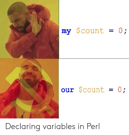 perl: my $count 0;  our $count-0 Declaring variables in Perl