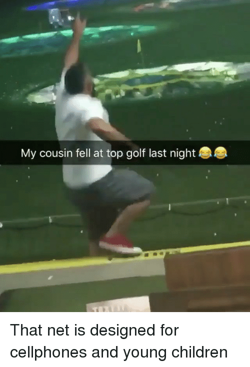 cellphones: My cousin fell at top golf last night That net is designed for cellphones and young children