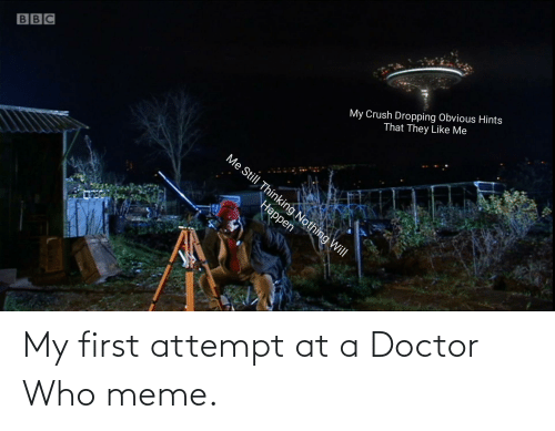 Who Meme: My Crush Dropping Obvious Hints  That They Like Me  BBC  Me Still Thinking Nothing Will  Наррen My first attempt at a Doctor Who meme.