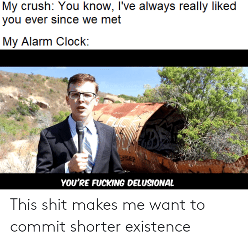 existence: My crush: You know, I've always really liked  you ever since we met  My Alarm Clock:  FEP  YOU'RE FUCKING DELUSIONAL This shit makes me want to commit shorter existence