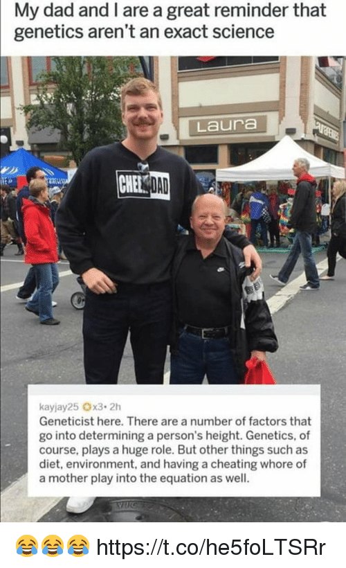 Factors: My dad and I are a great reminder that  genetics aren't an exact science  Laura  Geneticist here. There are a number of factors that  go into determining a person's height. Genetics, of  course, plays a huge role. But other things such as  diet, environment, and having a cheating whore of  a mother play into the equation as well. 😂😂😂 https://t.co/he5foLTSRr
