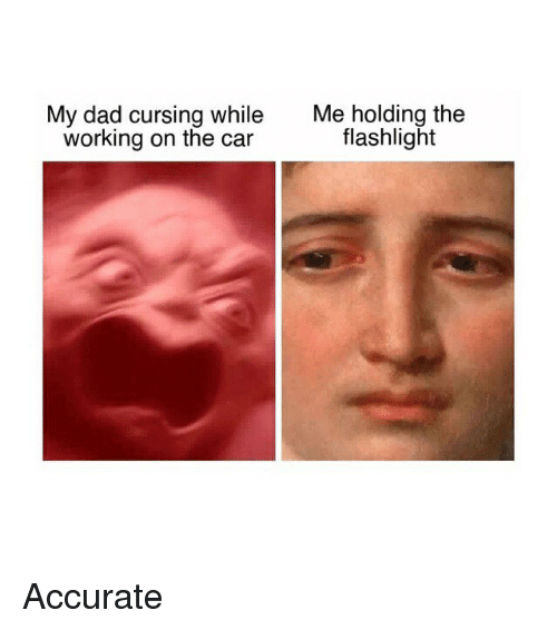Dad, Flashlight, and Classical Art: My dad cursing while  working on the car  Me holding the  flashlight Accurate