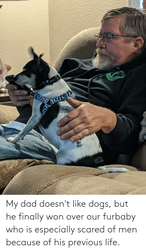 Of His: My dad doesn't like dogs, but he finally won over our furbaby who is especially scared of men because of his previous life.