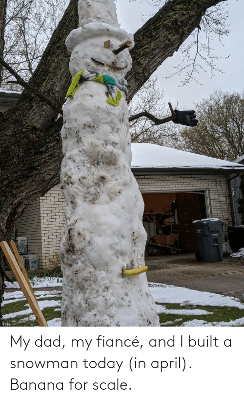 April: My dad, my fiancé, and I built a snowman today (in april). Banana for scale.