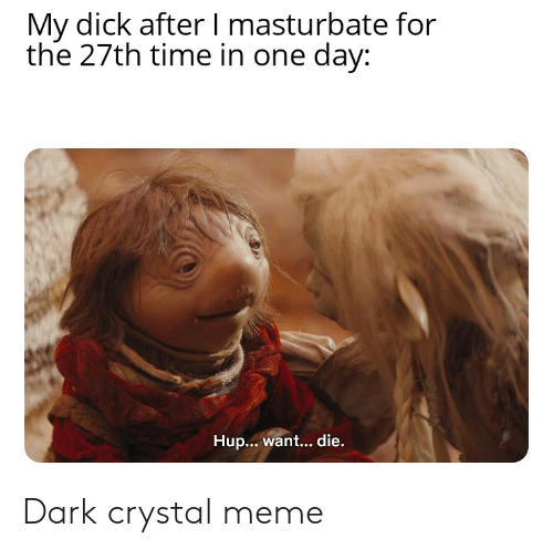 Meme, Dick, and Time: My dick after I masturbate for  the 27th time in one day:  Hup...want... die. Dark crystal meme