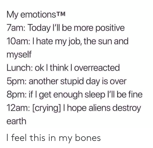 i hate my job: My emotions TM  7am: Today I'll be more positive  10am: I hate my job, the sun and  myself  Lunch: ok I think I overreacted  5pm: another stupid day is over  8pm: if I get enough sleep 'll be fine  12am: [crying] I hope aliens destroy  earth I feel this in my bones