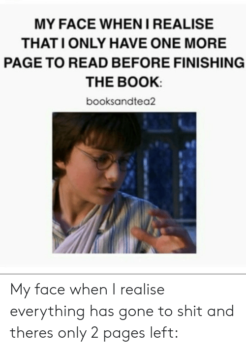 Gif, Shit, and Tumblr: MY FACE WHENIREALISE  THATI ONLY HAVE ONE MORE  PAGE TO READ BEFORE FINISHING  THE BOOK  booksandtea2 My face when I realise everything has gone to shit and theres only 2 pages left: