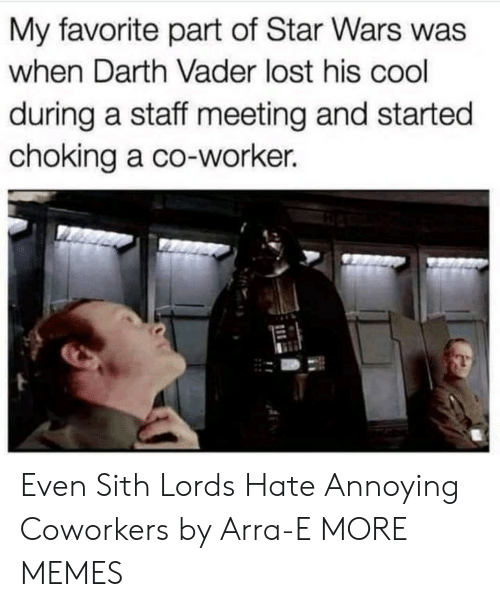 Dank, Darth Vader, and Memes: My favorite part of Star Wars was  when Darth Vader lost his cool  during a staff meeting and started  choking a co-worker. Even Sith Lords Hate Annoying Coworkers by Arra-E MORE MEMES