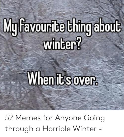 Memes, Winter, and Thing: My favourite thing about  winter?  When it' s over 52 Memes for Anyone Going through a Horrible Winter -