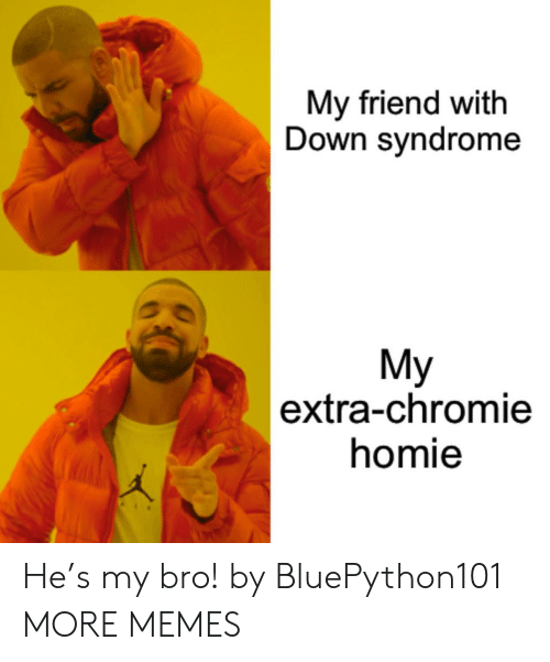 syndrome: My friend with  Down syndrome  My  |extra-chromie  homie He's my bro! by BluePython101 MORE MEMES