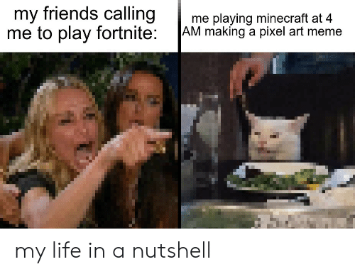 My Friends Calling Me to Play Fortnite Me Playing Minecraft