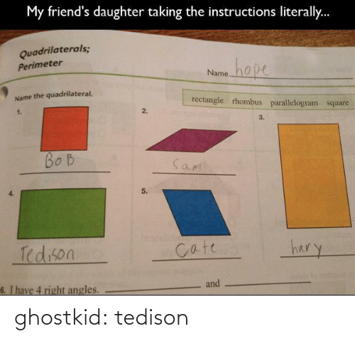 perimeter: My friend's daughter taking the instructions literally.  Quadrilaterals;  hape  Perimeter  Name  Name the quadrilateral.  rectangle rhombus parallelogram square  1.  2.  3.  BO B  Sam  5.  hary  Tedison  Cate  and  6. I have 4 right angles. ghostkid:  tedison