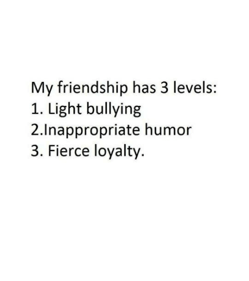 Humans of Tumblr, Friendship, and Light: My friendship has 3 levels:  1. Light bullying  2.Inappropriate humor  3. Fierce loyalty