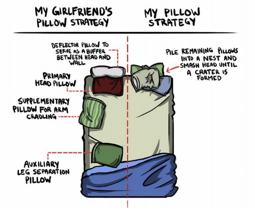 nesting: My GIRLFRIEND'SMY PILLOW  PILLOW STRATEGY  STRATEGY  DEFLECTOR PIuow To  SERVE AS A BUFFER -  BETWEEN HEAD AND I  PILE REMAINING PILLowS  INTO A NEST AND  SMASH HEAD UNTIL  A CRATER IS  FORMED  WALL  PRIMARY  HEAD PILLOW  SUPPLEMENTARI  PILLDW FOR ARM  CRADLING --  AUXILIARY  LEG SEPARATION  PILLOW