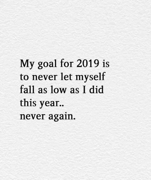 Fall, Goal, and Never: My goal for 2019 is  to never let myself  fall as low as I did  this vear..  never again