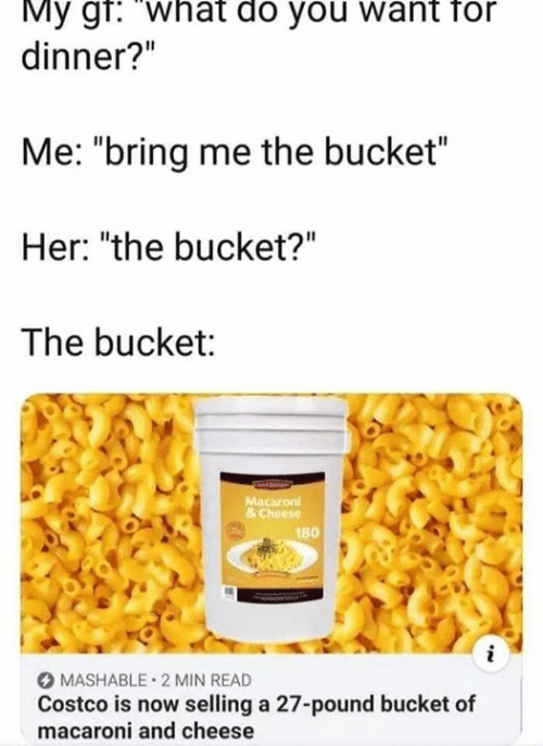 "Costco: My gr: What do you want for  dinner?""  Me: ""bring me the bucket""  Her: ""the bucket?""  The bucket:  Macaron  & Cheese  180  i  MASHABLE 2 MIN READ  Costco is now selling a 27-pound bucket of  macaroni and cheese"