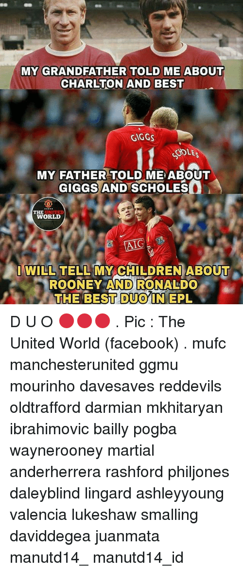 Giggs: MY GRANDFATHER TOLD ME ABOUT  CHARLTON AND BEST  GIGGS  SOLE  MY FATHER TOLD ME ABOUT  GIGGS AND SCHOLES  WORLD  AIG  I WILL TELL MY CHILDREN ABOUT  ROONEY AND RONALDO  THE BESITDUOYIN EPL D U O 🔴🔴🔴 . Pic : The United World (facebook) . mufc manchesterunited ggmu mourinho davesaves reddevils oldtrafford darmian mkhitaryan ibrahimovic bailly pogba waynerooney martial anderherrera rashford philjones daleyblind lingard ashleyyoung valencia lukeshaw smalling daviddegea juanmata manutd14_ manutd14_id