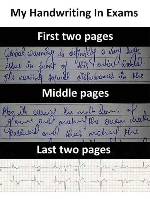 Memes, 🤖, and Pages: My Handwriting In Exams  First two pages  0  an  Middle pages  Last two pages  VS