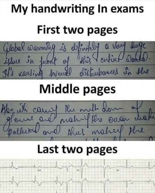 Pages, First, and Handwriting: My handwriting In exams  First two pages  th rauin Javedl dibone n he  Middle pages  Last two pages