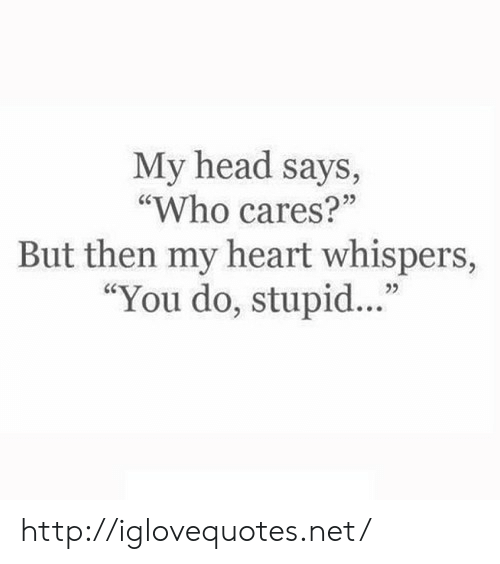 "Head, Heart, and Http: My head says,  ""Who cares?""  But then my heart whispers,  ""You do, stupid...""  25 http://iglovequotes.net/"
