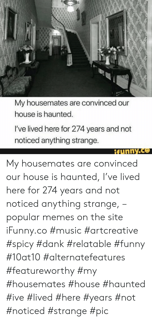 Dank, Funny, and Memes: My housemates are convinced our  house is haunted.  I've lived here for 274 years and not  noticed anything strange.  ifunny.co My housemates are convinced our house is haunted, I've lived here for 274 years and not noticed anything strange, – popular memes on the site iFunny.co #music #artcreative #spicy #dank #relatable #funny #10at10 #alternatefeatures #featureworthy #my #housemates #house #haunted #ive #lived #here #years #not #noticed #strange #pic